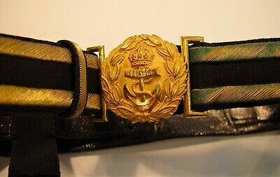 British WW1 Royal Navy Officer's Dress Sword Belt & Hangers in Mint Condition