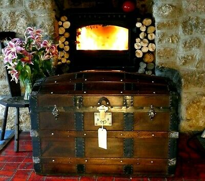 Superb Pine Large Domed Chest Steamer Trunk Coffee Table Brass Lock & Key