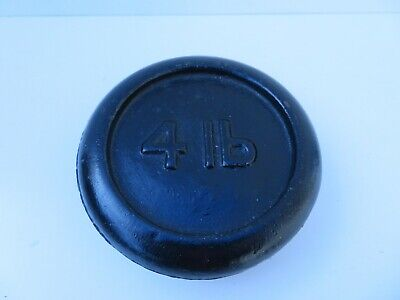 Vintage Round Cast Iron 4lb Weight - Paperweight, Doorstop or Scales Collectable