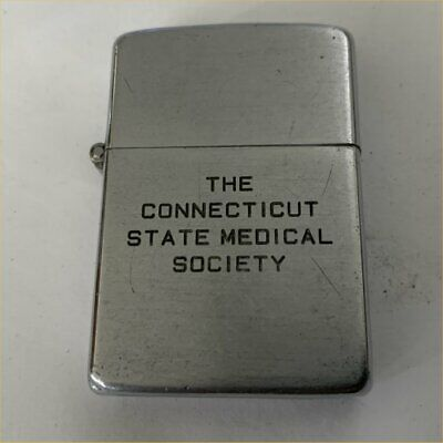 1940's Connecticut State Medical Society Zippo Lighter 3 Barrel Hinge