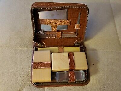 Old Groomin Travel 7 Piece Pack Complete Top Grain Leather Case