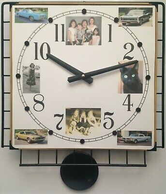 8-Photo Collage Pendulum Wall Clock with Your Favorite Photos w/Numerals