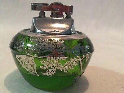 Vintage Silver City Glass Co Sterling on Green Crystal  Lighter New Old Stock