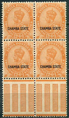 INDIA / CHAMBA 1929 KGV 2a 6p, SG 69 block of 4 with gutter, MNH (**)