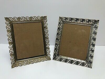 Lot of 2 Vintage Ornate Filigree Picture Frame 8 x 10 Gold Shabby Chic