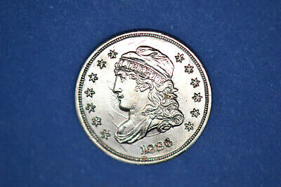 1836 Bust Half Dime- Very Strong Details and Nice Luster- Cleaned-  RARE!