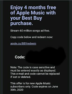 Apple Music 4 Months USA Code Delivery via Email New Subscribers Only