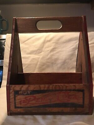Vintage 1940's PEPSI : dot - Wooden 6 Pack Bottle Carrier + two 10 Oz bottles