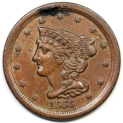 1855 C-1 Braided Hair Half Cent Coin 1/2c