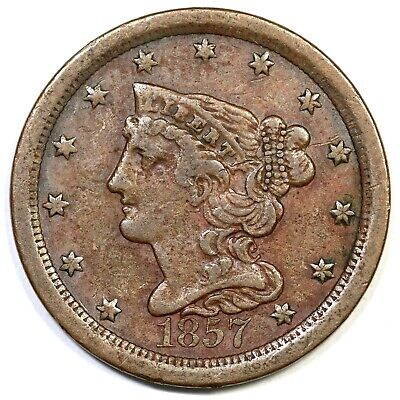 1857 C-1 Braided Hair Half Cent Coin 1/2c