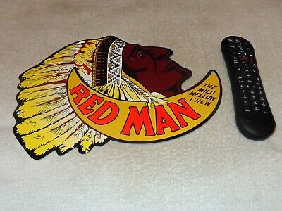 """Vintage Redman Indian Chewing Tobacco 12"""" Metal Smoking, Gasoline Oil Store Sign"""