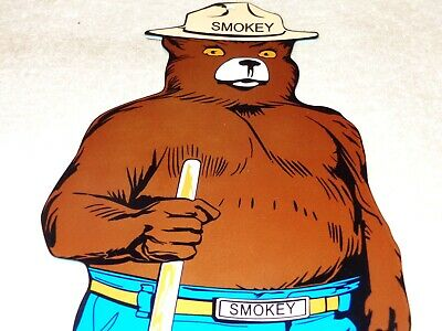 "Vintage Smokey The Bear Us Forest Fire Prevention! 12"" Metal Gasoline & Oil Sign"