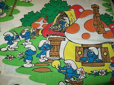 SMURFS complete set bed sheets children vintage 80s Peyo animation tvcharacter
