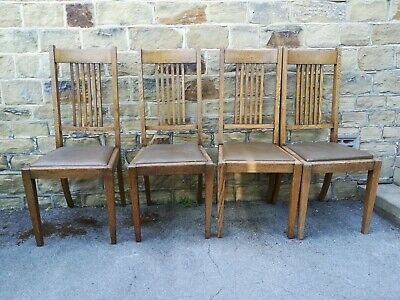 Arts And Crafts Oak Chairs X 4