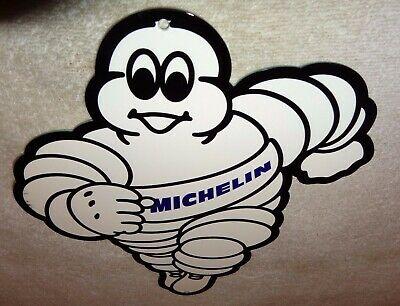 "Vintage Michelin Tires Die-Cut Man 12"" Metal Tire Gasoline & Oil Sign Pump Plate"