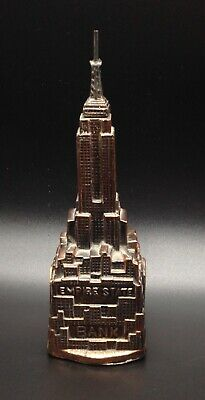 Vintage Empire State Bank metal sculpture building still coin-bank architectural