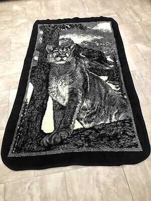 Vintage San Marcos Blanket Black & White Mountain Lion Cougar