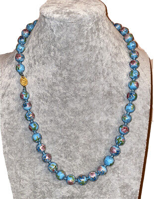Blue Cloisonne Enamel Floral Old Chinese Bead Necklace Filigree Silver Clasp