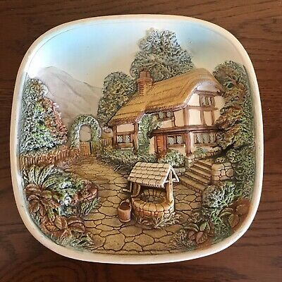 Vintage Legend Products England Cottage & Well Hand Painted 3D Wall Plaque