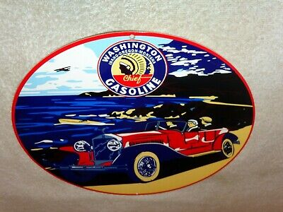 "Vintage Washington Indian Chief Gasoline Car, Airplane & Boat 12"" Metal Oil Sign"