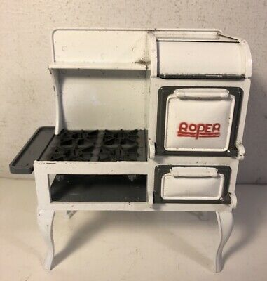 Vintage White Metal Roper Toy Stove Dollhouse Dee's Delights DDL7510 Miniature