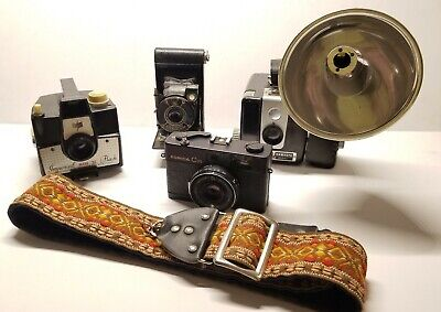 Nice Collection Of 4 OLD CAMERAS AND 35MM STRAP!!