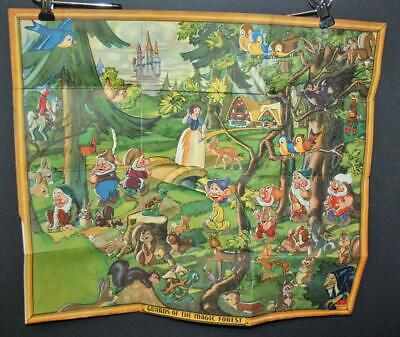 Rare 1939 Disney Guards of the Magic Forest map with attached stickers- NO RSRV
