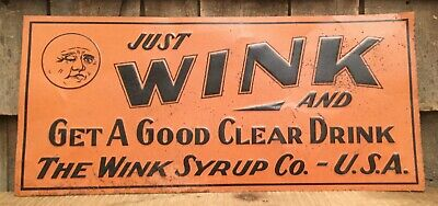 1930s Embossed WINK Soda Syrup Drink Advertising Country Store Sign Moon Graph