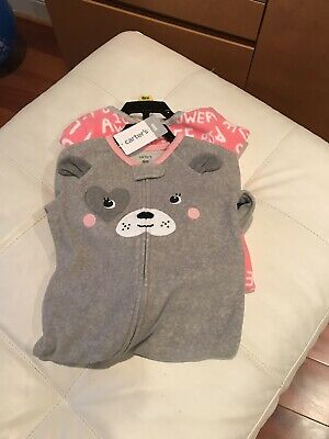 NWT - Carter Infant Girls Super Soft Footed Pajamas - 2 Pairs- 6 Months