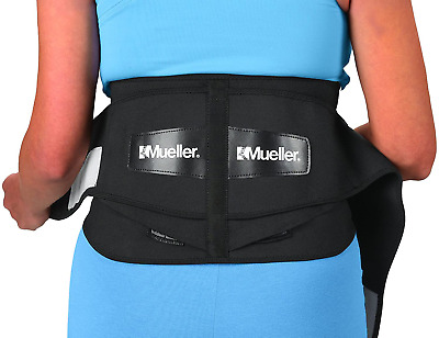 Mueller 255 Lumbar Support Back Brace with Removable Pad, Black, Regular(Package