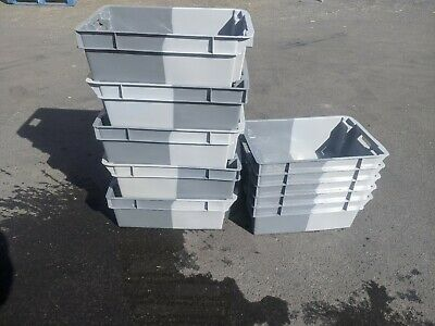 50 x Heavy Duty Two Tone Plastic Stackable Nestable Storage Box 60 x 40 x 20cm