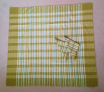 Vintage Small Cotton Seersucker  Tablecloth With 2 Matching Napkins 92cm X 88 cm