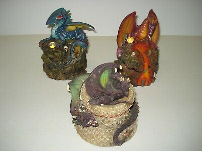 Dragon Trinket Boxes Set of 3 Statue Figurine Myths & Legends Hand Painted