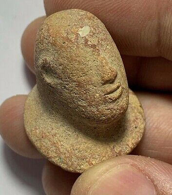 SCARCE-PERU PRE COLUMBIAN TERRACOTTA MALE HEAD CIRCA 700-500 BC 30mm