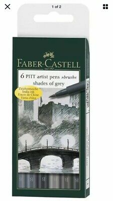 Faber-Castell Pitt Set of 6 Artist Brush Pens Graphics Drawing Markers Grey Tone
