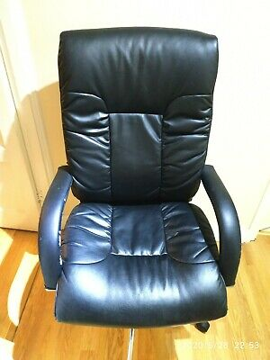Black Faux Leather Office Swivel Chair Adjustable