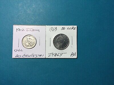 Lot Of Two, 1912 Italy 20 Centesmi And 1966 50 Lire UNC