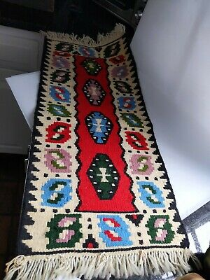 Woven Rug Table Runner, tapastry Mexican, Southwest Design, Wool Red,BLK,Blue