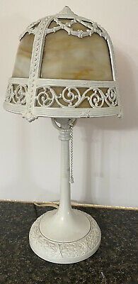 Vintage Early 20thC Bedside Table Night Stand Boudoir Slag Glass Lamp NR