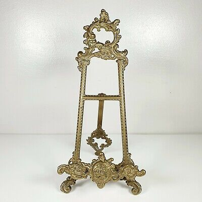"Vintage Solid Brass Ornate Book/Recipe/Picture/Art Holder Stand Easel - 10"" Tall"