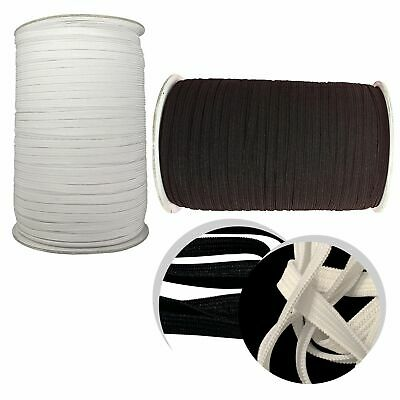 2mtrs QUALITY White OR Black Elastic flat Cord 6mm Sewing Dress Making Crafts
