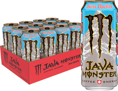 Java Monster Swiss Chocolate, Coffee + Energy Drink, 15 Ounce (Pack of 12)