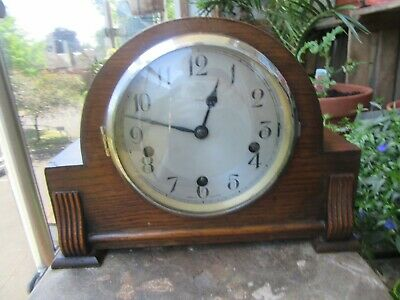 Art Deco Enfield Wood Case Westminster Chime Mantel Clock