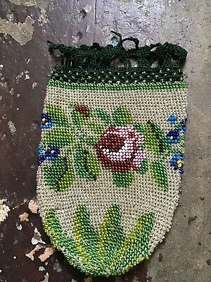 Beautiful Antique Beaded Purse With Crochet Trim