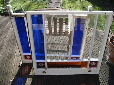 Antique wooden sash window with stained glass - Victorian Edwardian