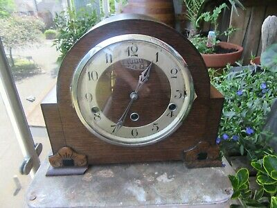 Art Deco Foreign Wood Case Westminster Chime Mantel Clock