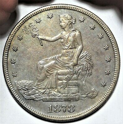 1878-S Trade Silver Dollar Almost Uncirculated Details AU $1 Type Coin