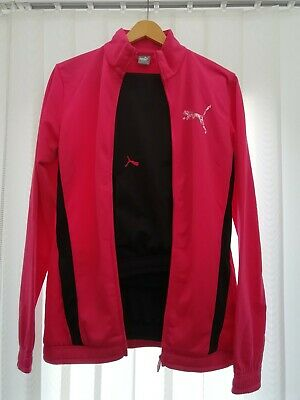 Puma Girls Track Suit Pink Jacket Black Bottoms Age 15-16 Years