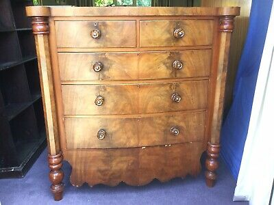 Antique Chest Of Drawers, turned Solid Walnut Handles, Column Sides