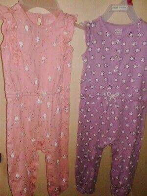 2 Child of Mine Infant Toddler Baby Girls Rompers Overall Jumpsuit Outfits 18m